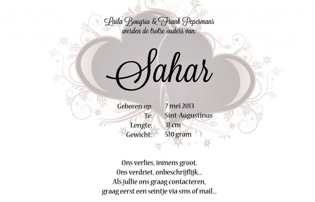 Sahar's Birth Announcement